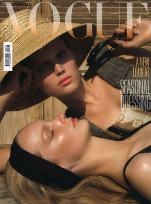 Katrin Thormann and Toni Garrn by Steven Meisel for Vogue Italia 2008