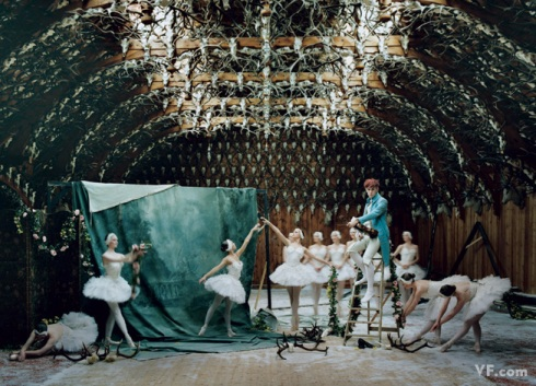Patrick Wolf, surrounded by the cygnets of the Ballet West in Braemar, Scotland. Photograph by Tim Walker; styled by Sarajane Hoare.