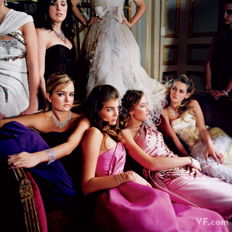 Young socialites Lily Mortimer, Maria Teresa Frering, Lady Tatiana Mountbatten, and Marie-Solène d'Harcourt at Le Bal Crillon des Débutantes, in Paris. Photograph by Jonathan Becker.