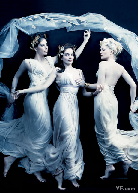 Sarah Silverman, Tina Fey, and Amy Poehler as the three graces. Photograph by Annie Leibovitz; styled by Michael Roberts and Jessica Diehl.