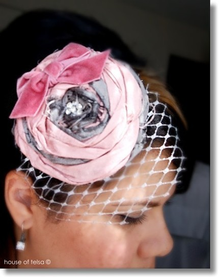 luscious antique pink and gray, silver Rosette Headpiece, fascinator with vintage rhinestones