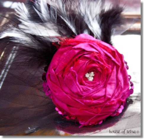 Hot Pink, Fuschia Rosette fascinator with black and white feathers, vintage rhinestones steampunk