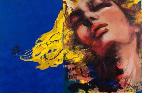 Diptych on Blue- mixed media - New York