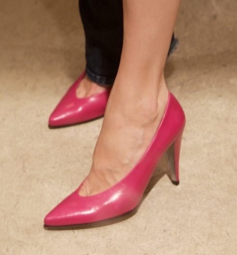 On went these buttery soft leather hot pink pumps!!!!